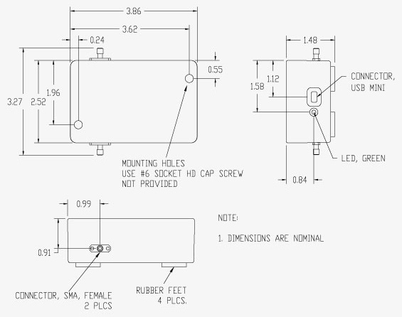 Vaunix LDA-602 Digital Attenuator Mechanical Drawing