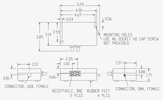 Vaunix LMS-103 Digital Signal Generator Mechanical Drawing