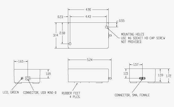 Vaunix LSG-222-20 Digital Signal Generator Mechanical Drawing
