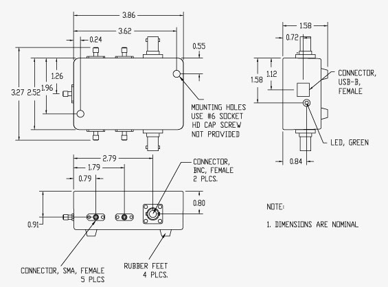 Vaunix LSW-102P4T-75F RF Switch Mechanical Drawing