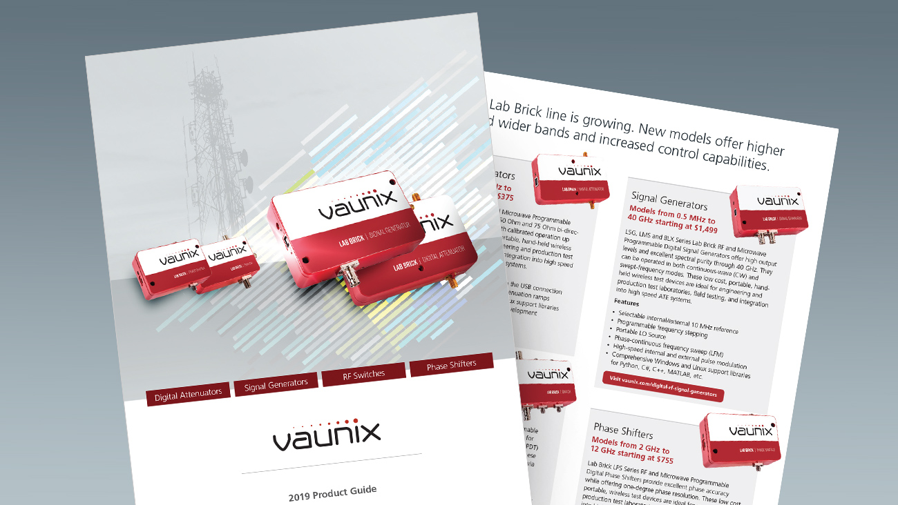 Download Rev. II of the Vaunix Lab Brick RF Test Devices Product Guide